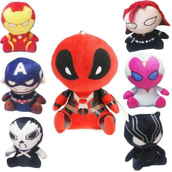 18cm Marvel The Avengers Deadpool Plush Toys Iron Man Captain America Hulk Batman Stuffed Plush Dolls Kids Gift