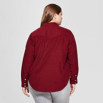 Women's Plus Size Long Sleeve Corduroy Western Shirt - Universal Thread™