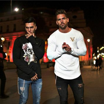 2018 New Fashion Floral Skull Sweatshirts Men Casual Sweatshirt Homme Pullover Male Gyms Fitness Bodybuilding Long sleeve O-neck