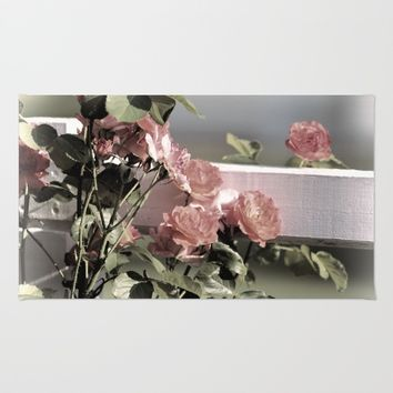 Pink Roses on Fence Rail Rug by Theresa Campbell D'August Art