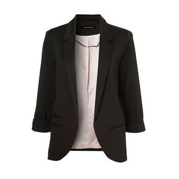 Blazer Women 2016 Candy Color Rolled Up Sleeve Boyfriend Style No Buckle Blazer Feminino Slim Blazer Small Suit Outwear C1750
