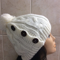 Whitehat ,Women's Knit Hat Winter Hat Slouchy Beanie Pompom Hat -White Beret / Chunky / Beret /Baggy / Beanie
