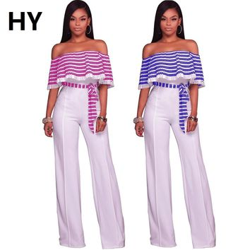 """HY"" Long Striped Overalls Shoulder Jumper"
