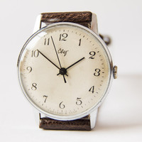 Soviet wrist watch Svet - men's watch - silver, brown tones watch