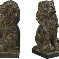 0-002777>Lion Book Ends Aged Copper