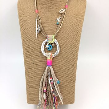 2017 New handmade Bohemia jewelry leather tassel pendents unique boho long Necklaces leather woven chain necklace