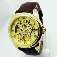 Leather Strap Automatic Mechanical Watch Men