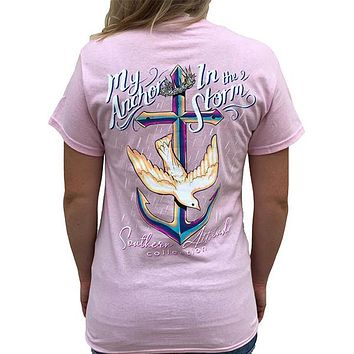 Southern Attitude Preppy Anchor In The Storm Pink T-Shirt