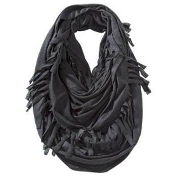 Xhilaration® Solid Infinity Scarf with Fringe - Black