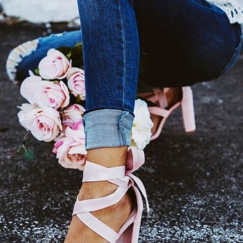 The Mia Faux Suede Lace Up Heel in Blush