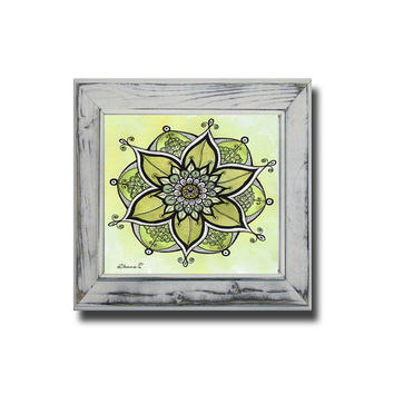 Floral Wall decor - Yellow Mandala Art - Bedroom Home Decor - Spiritual Painting - Large PRINT -  - Christmas gift idea