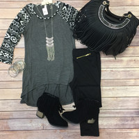 Always on my Mind Aztec Top: Charcoal