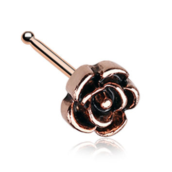 Rose Gold Color Vintage Rose Icon Nose Stud Ring - 20 G - Sold as a Pair