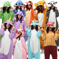 Fleece Adults Halloween Costumes Jumpsuit Onesuit Pajamas Tiger Rilakkuma Stitch Unicorn Bear Midnight Cat Dragon Mike wazowski