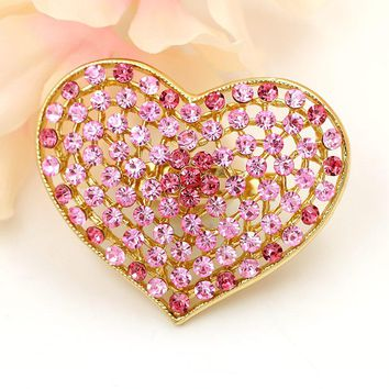 Pack of 2 pcs Factory Direct Sale Pink Red Blue Crystal Rhinestones Heart Brooch Pins in assorted colors