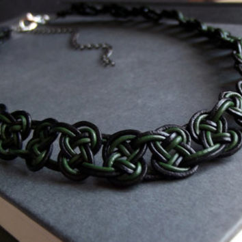 Celtic Knot Men's Necklace:  Dark Emerald Green and Black Leather Choker Necklace, St. Patrick's Day Unisex Jewelry