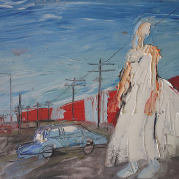 RAILWAY WEDDING - Original Oil Paintng - Modern Art - Contemporary Art - Fashion Style