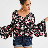 AE PRINTED BELL SLEEVE TOP, Black