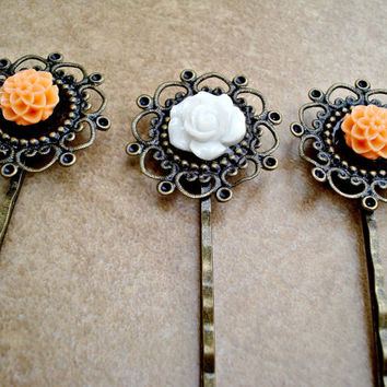 Set of 3 Vintage Style Bronze Filigree and Tangerine Orange and White Flower Bobby Pins - Mums and  Rose - Antique Bronze Flower Hair Pin