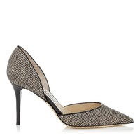 Natural Striped Glitter on Fabric and Black Patent Pointy Toe Pumps | Addison | Spring Summer 15 | JIMMY CHOO Shoes