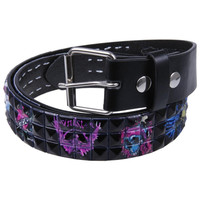 Tattoo Skulls Studded Leather Belt
