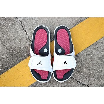 Nike Air Jordan 13 White Black Red Men Women Slipper Sandals