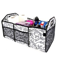 Damask Foldable Trunk Organizer / Utility Bag - 3 Section