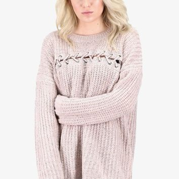 Stitch Me Up Sweater {Blush/Grey}