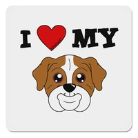 """I Heart My - Cute Bulldog - Red 4x4"""" Square Sticker by TooLoud"""