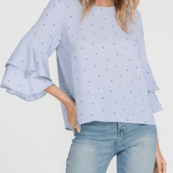Women's Printed Bell Sleeve Blouse