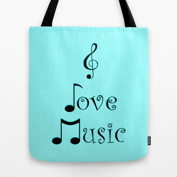I Love Music - Techno Turquoise Tote Bag by Moonshine Paradise