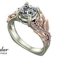 Flower Engagement Ring,Unique Engagement Ring,Two Tone Gold Ring By Vidar Botique,Rose Gold Engagement Ring,Leaves Ring,Vintage Floral Ring