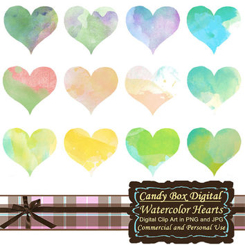 Watercolor Heart Clipart, watercolor heart clip art, watercolor clipart, watercolor clip art, heart clipart - Commercial Use OK
