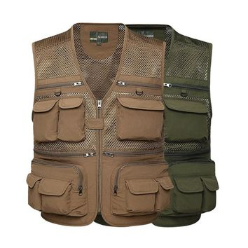 5 Colors Outdoor Men Multi-pockets Camping Hunting Fishing Hiking Vest Tactical Clothing Vest Breathable Quick Dry Mesh Clothes