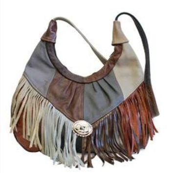 Patches Soft Leather Fring Hobo Purse