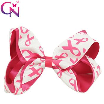 "30 Piecs/lot 5.5"" Breast Cancer Bow With Hair Clip For Kids Girls Teens Handmade Boutique Satin Ribbon Hair Bow Hair Accessories"
