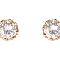 Cubic Zirconia Earrings Round Gold Plated Stud