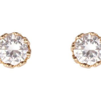 Cubic Zirconia Earrings Round Gold Plated Stud 10 mm