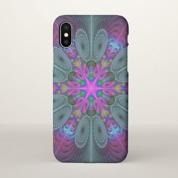 Mandala From Center Colorful Fractal Art With Pink iPhone X Case
