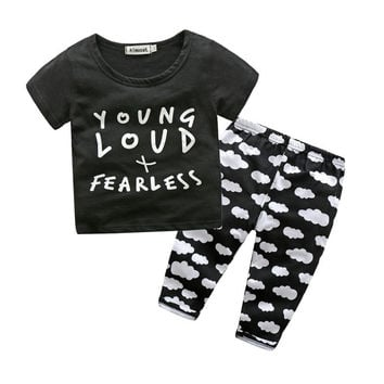 Fashion Newborn Baby Sets Boys O-neck Letters Printed Short Sleeve T-shirt Tops +Pants Baby Casual Suit