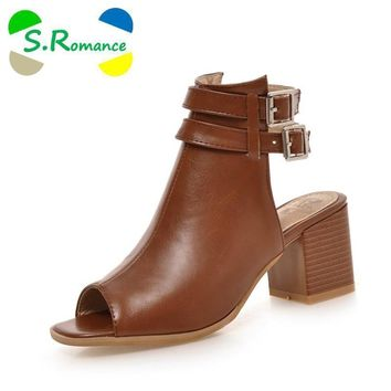 s romance plus size 34 43 new fashion women sandals gladiator mid squre heel casual wo  number 1