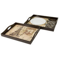Wooden TV Trays / Serving Trays Paris Collage (Set of 2)