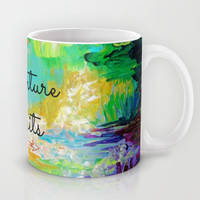 ADVENTURE AWAITS Wanderlust Typography Explore Summer Nature Rainbow Abstract Fine Art Painting Mug by EbiEmporium