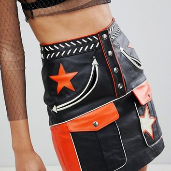 ASOS Ultimate Leather Western Mini Skirt at asos.com