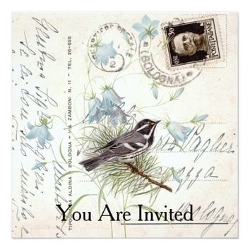 Vintage Bird Flowers Italian Postcard Invitation