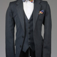 Yves Saint Laurent Charcoal Pinstripe Wool 3 Piece Suit 36 R