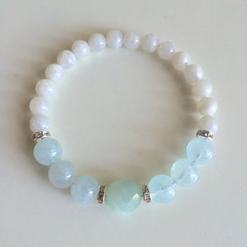 Simple Aquamarine, Amazonite & Moonstone Bracelet w/ Swarovski Crystal Roundels ~ Healing Bracelet ~ Creativity, Intuition and Inner Growth