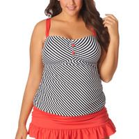 Ruched black and white stripe plus size tankini