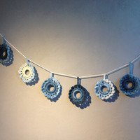 Crochet Baby Garland,Garland,Handmade Garland, White blue and navy ,Flower Garland,crochet decoration,wall decoration,baby room decoration