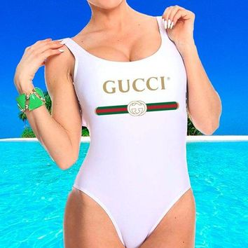 shosouvenir GUCCI New Fashion Letter Print Red And Blue Stripe Swimsuit One Piece Bikini Suit Rose red
